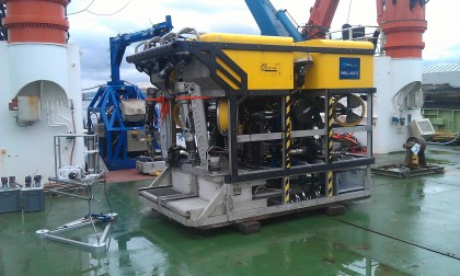 Lander research unit ready for ROV to take to seabed
